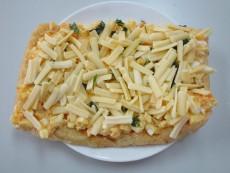 マヨネーズ卵と大葉のピザ風うす揚げ